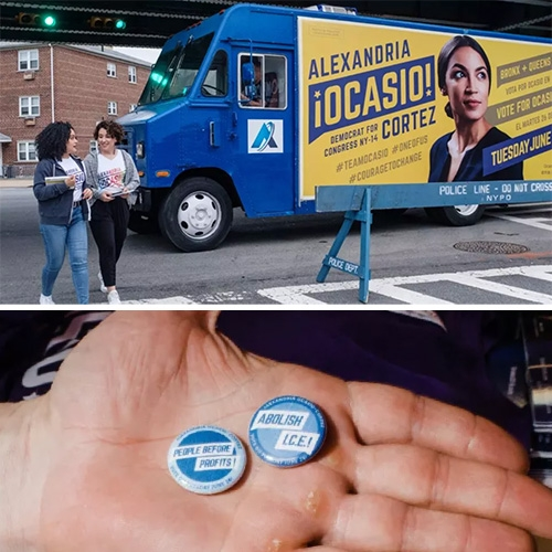 "A look at the design by Tandem Design NYC for Ocasio-Cortez's big win. FastCo Design ""How the Alexandria Ocasio-Cortez campaign got its powerful design"""