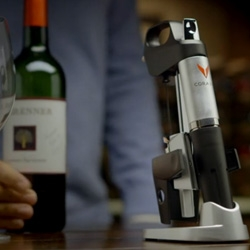 The Coravin System is a device that allows you to pour wine from a corked bottle without oxygen getting in.