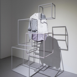 During Milan Design Week 2014, Nendo designed a collection of clothes for COS, and an installation for the presentation.