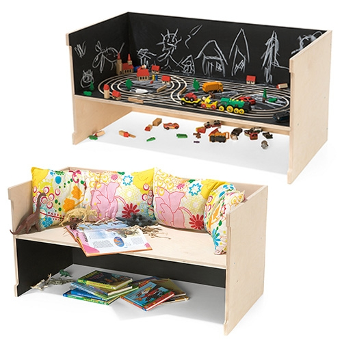 Magazin: Kindermöbel Tschutschu. Fun kid's work table, bench or stage - depending on which side is up and how you choose to use it! The black surfaces are chalkboard, and the rails are milled in and perfect for Brio like trains!