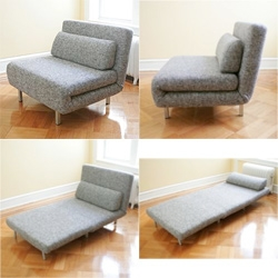 I'm intrigued and confused by this Chair Sleeper Square Gray ~ where did those feet come from, how does the back hover when totally opened? Cool idea though