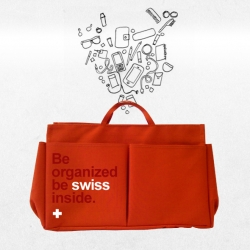 'Be organized, be swiss inside' bag organizers - swiss souvenirs with a purpose.