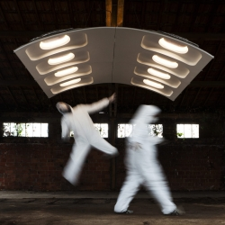 F-Light is a modular lighting system made of discarded plane, designed by Paul Coudamy for Flown. All pictures by B. Boccas.
