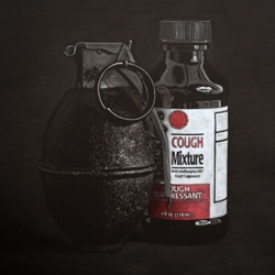 amazing realistic still lifes by Adam Stennett, which has a dark comparison between weapons and over the counter products.