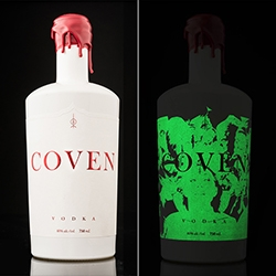 Coven, a vodka from Arbutus Distillery. A classy, elegant label with a wicked glow-in-the-dark overprint.