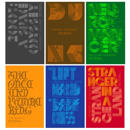 Penguin Galaxy Series - gorgeous covers in this rerelease of 6 scifi classics (2001: A Space Odyssey, Dune, Neuromancer, The Once and Future King, The Left Hand of Darkness, and Stranger in a Strange Land)