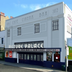An unused cinema gets a virtual makeover to show it's potential.  This is for a campaign to bring cinema back to Crystal palace, Syndenham, uk.