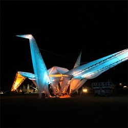 "LA based Crimson Collective has unveiled ""Ascension"", a structure based on the Japanese legend of a Thousand Cranes  for the inauguration of the 2010 Coachella Music and Arts Festival."
