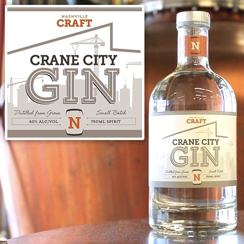 Nashville Craft Crane City Gin - great name and label, truly embracing the incredible amount of construction taking over the city!