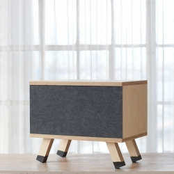 Credenza is a minimalist design created by American-based designer Chuck Routhier. Hand built from 1″ Baltic birch plywood, finished in a satin varnish and a choice of reversible felt-covered sliding doors.