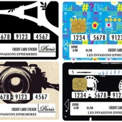 """Universal"" credit cards stickers by Les Invasions Ephemeres"