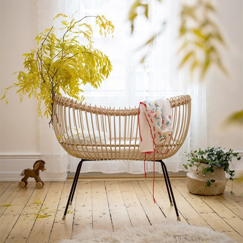 Bermbach Baby Bed LOLA - handmade rattan, leather, and wood crib. Stunning details.
