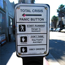 Total Crisis Panic Button, a terrific culture jam created in Los Angeles by Jason Eppink.