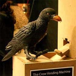 when perusing core77's excellent coverage of ITP thesis presentations, josh klein's crow vending machine caught my eye.  shaping crows to pick up loose change in exchange for peanuts.