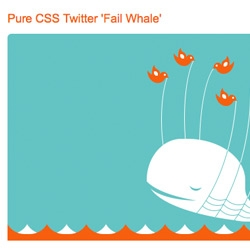 Look familiar? Except, this fail whale is entirely rendered in CSS! It's also animated in Safari and Chrome! notcot says it's the new ascii art.
