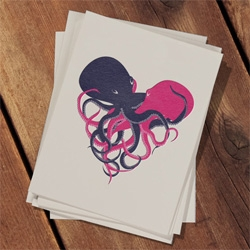 Sometimes, when two octopi love each other very much, they weave their bodies together and a very special heart is born. Awesome valentine's day octopus card design by Christina Piluso!
