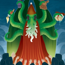 Cthulhu Santa illustration, just in time for the holidays.
