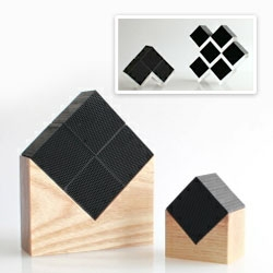 Chikuno charcoal odor absorbing cubes (perfect for the fridge) ~ cute designs to house them... wooden house, acrylic zig zags, etc...