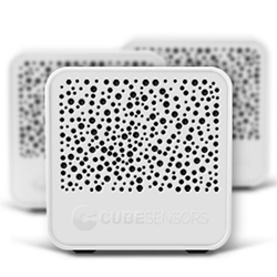 "Cube Sensors ~ ""small, cordless and connected devices that continuously measure temperature, humidity, noise, light, air quality and barometric pressure for every room, they can even pick up unwanted vibrations that shake up your building."""