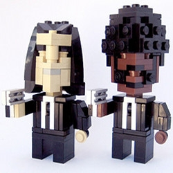 Your favorite pop culture icons have been created in LEGO, just like Jules and Vincent above, from Pulp Fiction.  Chewbacca, Batman and the crew from Big Lewbowski are all present.
