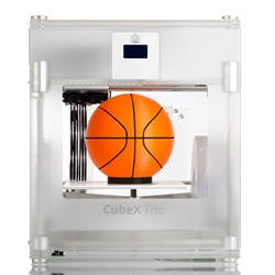 3D Systems newest printer, the CubeX, is the biggest and best of their Cubify lineup. The print area is one of the largest for entry level desktop 3d printers, has a Z resolution of 125 microns, and comes with up to 3 print heads!