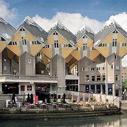 The iconic post modernism housing complex Cube Houses in Rotterdam has been converted into an affordable hostel.