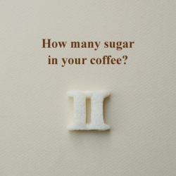 sugar cubes at the shape of Roman numbers, each sugar cubes consist one, two or three sugar spoons.