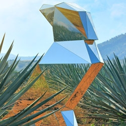 José Cuervo Tequila sculpture. Based on the brand icon, the crow.