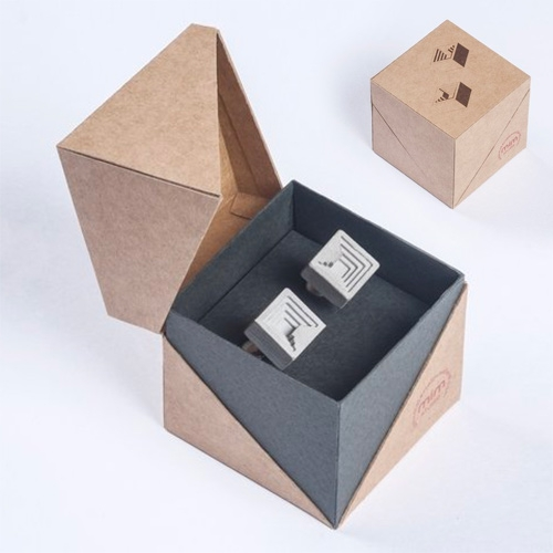 Material Immaterial Micro Concrete Cufflinks. Great cube box packaging.