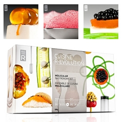 Cuisine R-Evolution: Molecular Gastronomy Kit! It teaches you how to transform liquids, like honey, into jelly-like cubes, spherify chopped produce into flavor-packed beads, or even morph melted chocolate into a delicate powder or spaghetti-like strands.