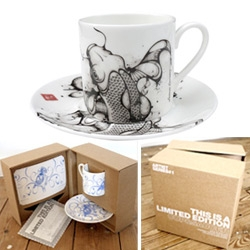 Click for Art's stunning new Cup & Saucer sets ~ as fun as the designs are, see the beautiful packaging the limited editions come in!