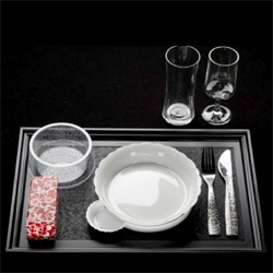 The tableware designed by Marcel Wanders for the business class of KLM.