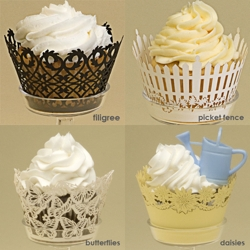 Dress up your cupcakes with these intricate detail laser cut cupcake wrappers by Paper Orchid.