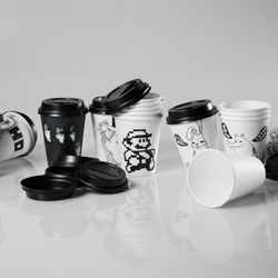 A whole collection of cups with original designs made by Murilo Kleine. Mario, Dark Vador, The Beatles and Tetris are part of the serie