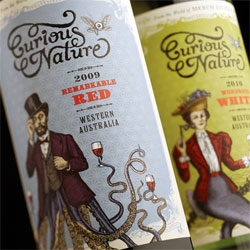 Curious Nature Wine ~ gorgeously, playful, steampunk/aquatic graphic design for the labels by Manifesto Design.
