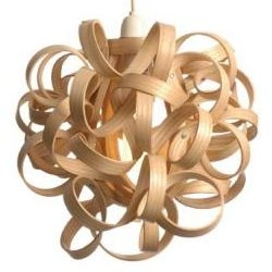 SIXIXIS designers use steam to curl and bend wood into amazing shapes. This is Curly Shade, 15 meters of Cornish Oak curling around a lightbulb.