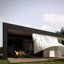 Polish architects Moomoo designed this house for a photographer, that features a dynamic skin through a curtain that covers one entire side. [Editors note: also featured as #13551]