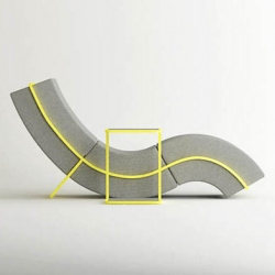 cho hyung suk design shows us their curved frame series  consisting of a chaise lounge, stool and a table where the upholstered blocks of each are held together by stainless steel frames.