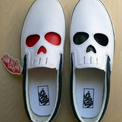 Custom skull Vans slip-ons with inter-changeable tongues from Toronto artist, Dan Springer