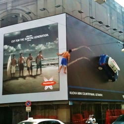Surf billboard fake out for the new Mini Countryman in Milan.