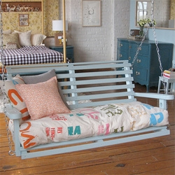 Adorable v-day gift ~ indoor porch swing! And the cushions are hand made from old (canvas?) tote bags!