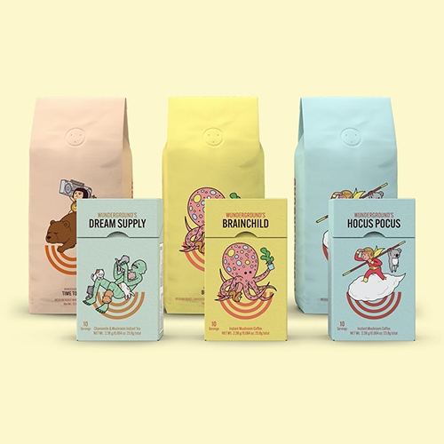 Wunderground Coffee - fun, happy packaging/graphics for this coffee+adaptogen brand