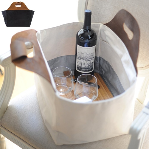 Millie Lottie Eva Signature Food & Picnic Tote - lovely leather handles with double canvas base and a perfectly sized bamboo cutting board to fit in the bottom!