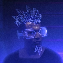 Cybernetic fashion and holographic shisha from Dubai's upcoming cyberpunk sci-fi film DUNEOPOLIS.