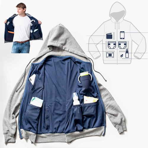 The Dad Hoodie - who needs a diaper bag when you could just turn dad into one? Grey and Navy hoodies packed with stretchy mesh pockets to hold all your basic baby needs. (If only it came in black?)