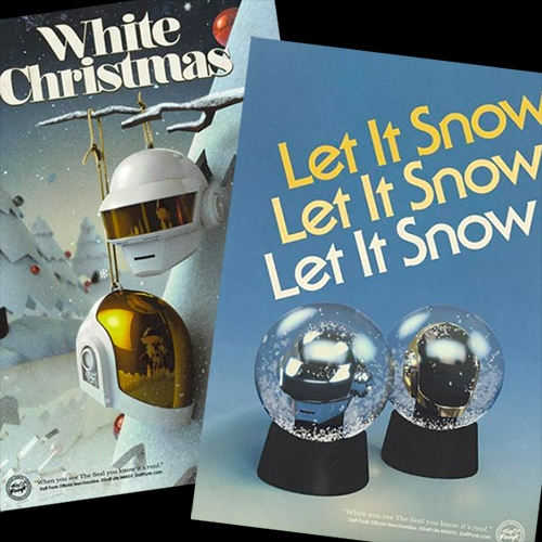 Daft Punk holiday ornaments and snow globes - with amazing faux vintage ads. And all their ads are now available as posters to order!