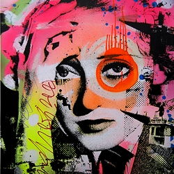 "Artist DAIN's new mixed-media print ""Skylark Davis"" made for his very first solo show being held at Brooklynite Gallery in... yes!... Brooklyn."