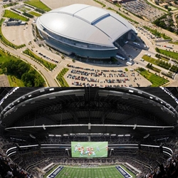 The Dallas Cowboys stadium cost approx. $1.3bn and boasts the world's largest: HDTV, glass doors, and column-free interior. Is it a modern-day Colosseum or monstrosity?