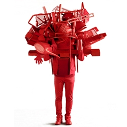 Daniel Firman's 'Monochrome' Series sculptures. Inteteresting combination of human form objects and color.