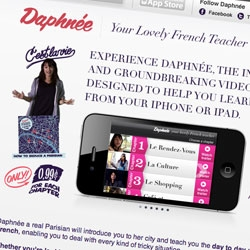 "Daphneé ~ a parisian teaching you french via iphone/ipad app! ""...features Anne-Sophie Franck from Inglourious Basterds, and its satirical portrayal of day-to-day scenarios..."" Adorable videos!"